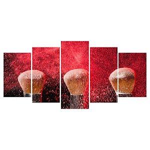 Quadro Decorativo Pincéis Fundo Vermelho 129x61cm Sala Quarto