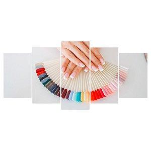 Quadro Decorativo Paleta de Cores Esmaltes 129x61cm Sala Quarto