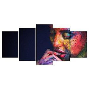Quadro Decorativo Modelo Maquiagem Colorida 129x61cm Sala Quarto