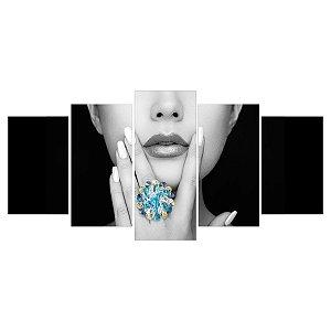 Quadro Decorativo Modelo Preto e Branco Detalhe Azul 129x61cm Sala Quarto