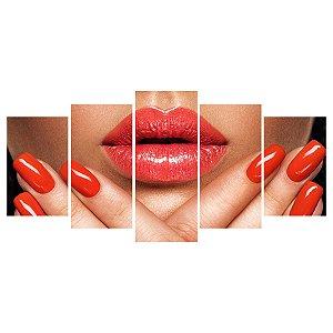 Quadro Decorativo Maquiagem Boca Unha 129x61cm Sala Quarto