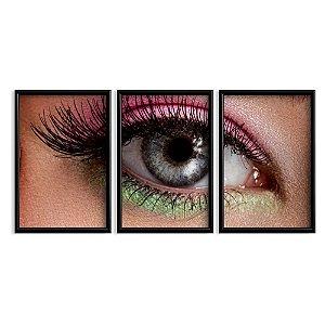 Quadro Com Moldura Maquiagem Olho 60x40 3 Peça