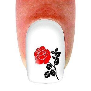 Adesivo de unha Flores Rosinha Vermelha 206 com 12un