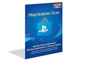 Cartão Playstation Psn $60 (50+10) Dólares - Usa