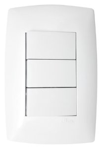 Interruptor 3 Tecla Simples horizontal Blux Linha Home
