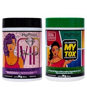 MyTox Botox Capilar 1Kg + Máscara VIP Diamante 1Kg MyPhios