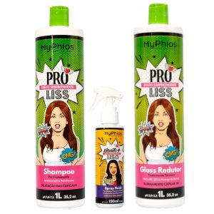 Kit Progressiva Shampoo e Gloss 1L Proliss , mais Spray Finish liso 150ml