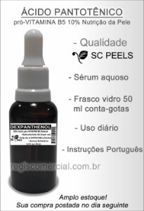 Ácido Pantotênico (D-Pantenol pró-Vitamina B5) em gel a 10%