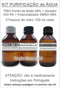 Clorito de Sódio 28% + Ativador HCl 4% + DMSO 99% kit com 3 vidros de 100 ml