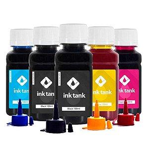 Kit 5 Tintas Epson L395 CMYKK Corante 100ml InkTank
