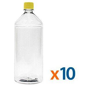 Kit 10 Frascos Transparentes Cristal com Tampa Amarela 1 Litro