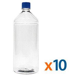 Kit 10 Frascos Transparentes Cristal com Tampa Azul 1 Litro