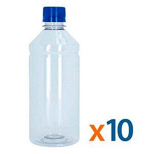 Kit 10 Frascos Transparentes Cristal com Tampa Azul 500ml