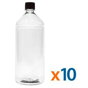 Kit 10 Frascos Transparentes Cristal com Tampa Preta 1 Litro