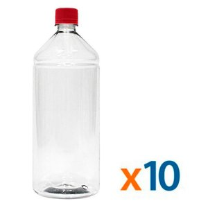 Kit 10 Frascos Transparentes Cristal com Tampa Vermelha 1 Litro