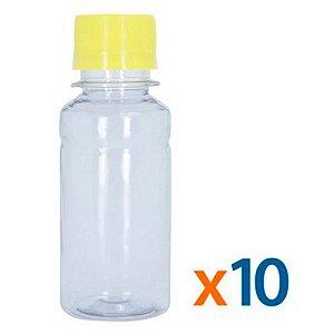 Kit 10 Frascos Transparentes Cristal com Tampa Amarela 100ml