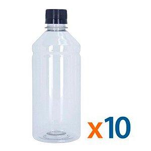 Kit 10 Frascos Transparentes Cristal com Tampa Preta 500ml