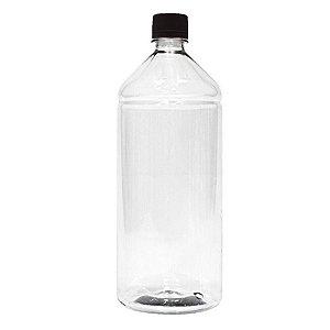 Frasco Transparente Cristal com Tampa Preta 1 Litro