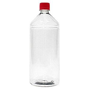 Frasco Transparente Cristal com Tampa Vermelha 1 Litro