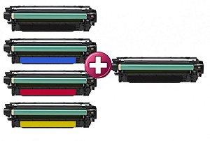 Compatível: Kit 4 Toner para HP CE252A CMYK + Toner para HP CE250A Black Comp