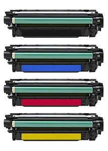 Kit 4 Toner HP CP3525 | CE250A | CE251A | CE252A CMYK Compativel