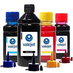Kit 4 Tintas para Epson Universal Black 500ml Coloridas 100ml Valejet