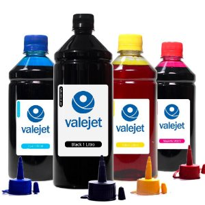 Kit 4 Tintas para Epson Universal Black 1 Litro Coloridas 500ml Valejet