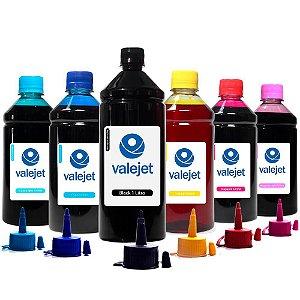 Kit 6 Tintas L1800 para Epson Black 1 Litro Coloridas 500ml Corante Valejet