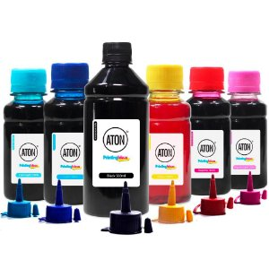 Kit 6 Tintas L1800 para Epson Black 500ml Coloridas 100ml Aton