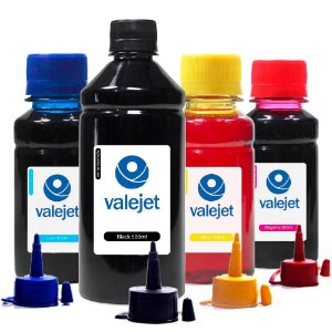 Kit 4 Tintas L375 para Epson Valejet Black 500ml Coloridas 100ml