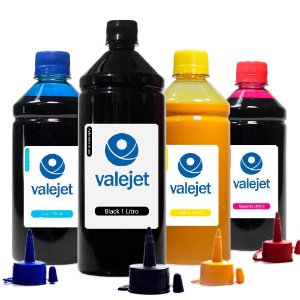Kit 4 Tintas L365 para Epson Black 1 Litro Coloridas 500ml Pigmentada Valejet