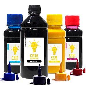 Kit 4 Tintas para Epson L365 Pigmentada Black 500ml Coloridas 100ml