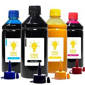 Kit 4 Tintas para Epson L375 CMYK Pigmentada Crie Sempre 500ml