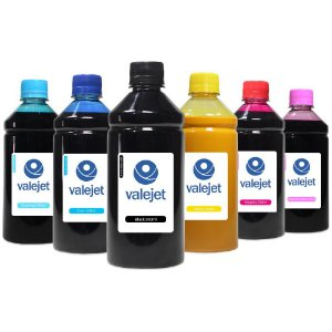 Kit 6 Tintas para Epson L810 CMYK Pigmentada Black 500ml Valejet