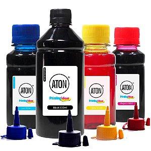 Kit 4 Tintas para Epson L395 Black 500ml Coloridas 100ml Aton