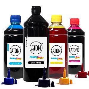 Kit 4 Tintas para Epson L395 Ecotank Black 1 Litro e Coloridas 500ml Aton