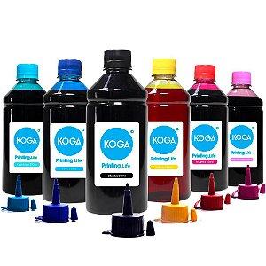Kit 6 Tintas para Impressora Epson L800 CMYK 500ml Corante Koga