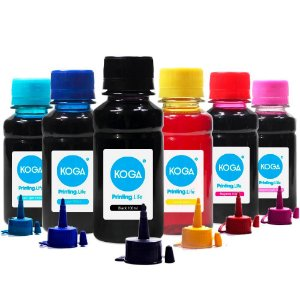 Kit 6 Tintas para Impressora Epson L1800 CMYK Corante 100ml Koga