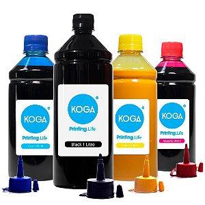 Kit 4 Tintas para Epson Ecotank L200 | L355 Sublimática Black 1 Litro e Coloridas 500ml Koga