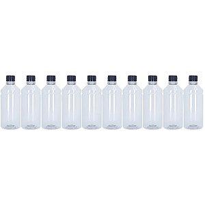 Frasco Transparente Cristal com Tampa Preta 500ml 10 Unidades