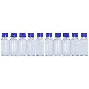 Frasco Transparente Cristal com Tampa Azul 100ml 10 Unidades