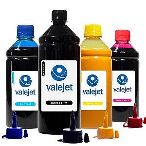 Kit 4 Tintas para Epson L395 Black 1 Litro Coloridas 500ml Pigmentada Valejet