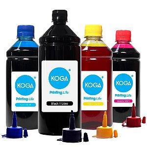 Kit 4 Tintas para Epson L475 Black 1 Litro Coloridas 500ml Corante Koga