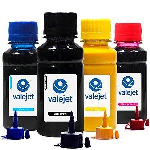 Kit 4 Tintas para Epson L495 EcoTank CMYK Pigmentada 100ml Valejet