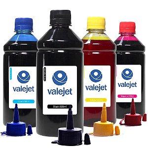 Kit 4 Tintas para Epson 504   T504 Valejet Black Pigmentada   Coloridas Corante 500ml