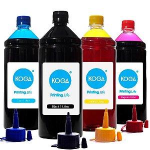 Kit 4 Tintas para Epson 504   T504 Koga Black Pigmentada   Coloridas Corante 1 Litro