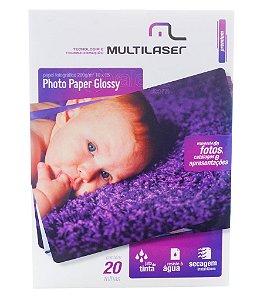Papel Fotográfico Photo Glossy Multilaser 200g 10x15 20 Folhas