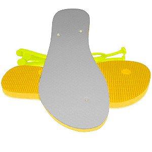 Chinelo Personalizado para Sublimação Feminino Amarelo com Tira Slim