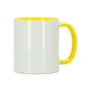 Caneca para Sublimação de Cerâmica Resinada Branca com Alça e Interior Amarelo - 1 Unidade