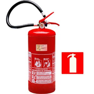 Extintor de Incêndio Pó Químico BC 8 kg - Classe BC + 1 Placa Sinalização
